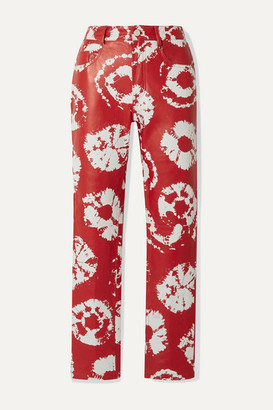 Area Printed Leather Straight-leg Pants - Red