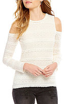 Chelsea & Violet Stretch Lace Cold Shoulder Top