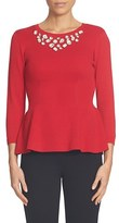 CeCe Women's Embellished Neck Peplum Sweater