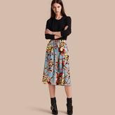 Burberry Peony Rose Print Silk Skirt