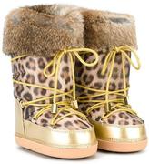 Roberto Cavalli leopard print snow boots - kids - Polyester/Artificial Leather/Polyacrylic/rubber - 28