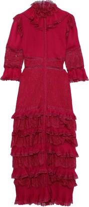 Alice + Olivia Carmina Tiered Pintucked Chiffon And Corded Lace Maxi Dress