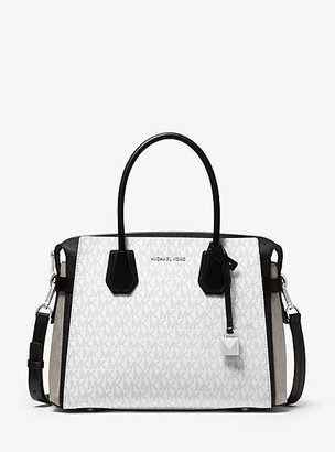 Michael Kors Mercer Medium Color-Block Logo Belted Satchel