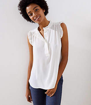 0dc69be5f42 Ruffle Henley Shell - ShopStyle