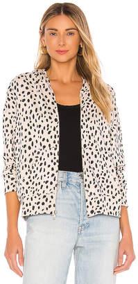 Monrow Cheetah Boxy Zip Up Hoodie
