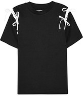 Facetasm Bow-embellished Cutout Cotton-jersey T-shirt - Black