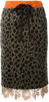Muveil lace trim midi skirt - women - Cotton/Polyester - 38
