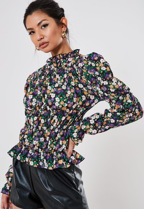 Missguided Black Floral Ruched Frill Neck Top