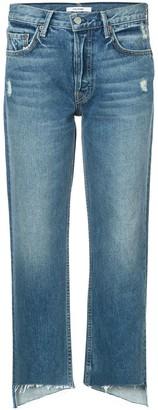 GRLFRND cropped raw hem jeans