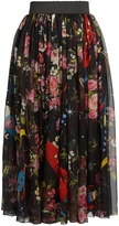 Dolce & Gabbana Planetarium Rose-print silk-chiffon midi skirt