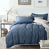Washed Cotton Chambray Duvet Quilt Cover Stripe to Solid Reversible Casual Modern Style Pinstripe Bedding Set Relaxed Soft Feel Natural Wrinkled Look (Queen, Blue Denim)