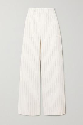 Ganni Pinstriped Crepe Straight-leg Pants - Cream