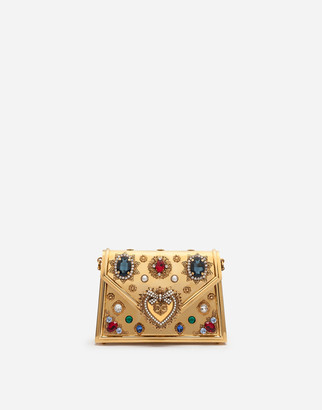 Dolce & Gabbana Small Metallic Devotion Bag With Bejeweled Detailing
