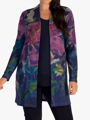 Chesca Abstract Floral Cardigan, Purple