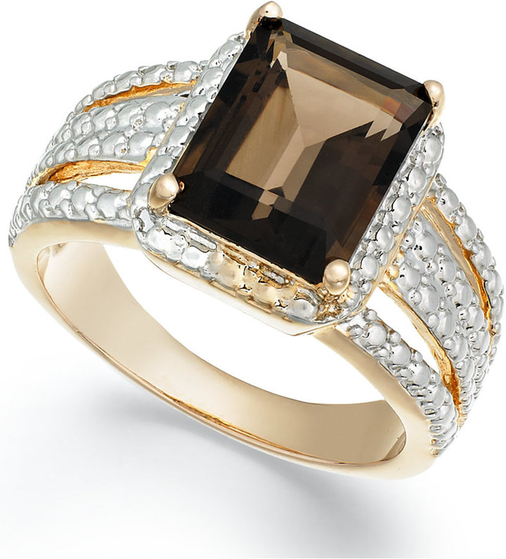 Townsend Victoria 18k Gold over Sterling Silver Smokey Quartz (2-9/10 ct. t.w.) and Diamond Accent Ring