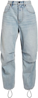Alexander Wang High-Rise Mixed-Media Nylon Denim Pants