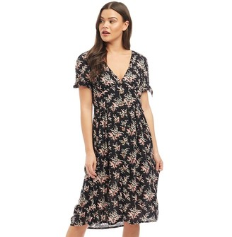 clear Ribbon Womens Short Sleeved Printed Dress Black/Multi