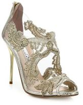 Oscar de la Renta Ambria Embroidered Metallic Peep Toe Sandals