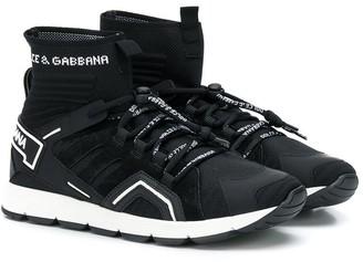 Dolce & Gabbana TEEN logo sock lace-up sneakers
