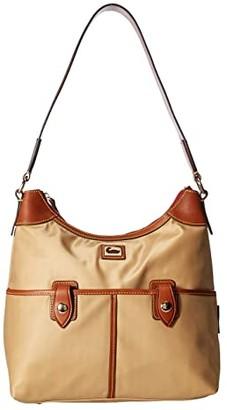 Dooney & Bourke Camden Zip Hobo (Black/Dark Chocolate Trim) Hobo Handbags