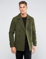 Asos Wool Mix Peacoat In Khaki