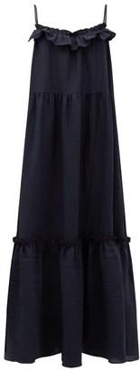 Araks Yasmin Ruffled Linen Maxi Dress - Womens - Navy