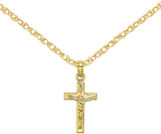 10K Yellow Gold Small Crucifix Block Cross Pendant with 18-inch Cable Rope Chain by Versil