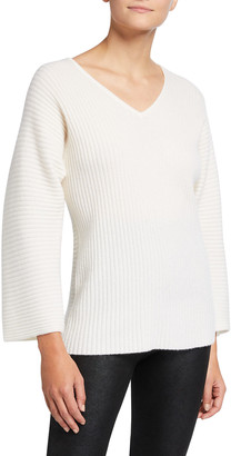 Neiman Marcus Ribbed V-Neck Cashmere Sweater