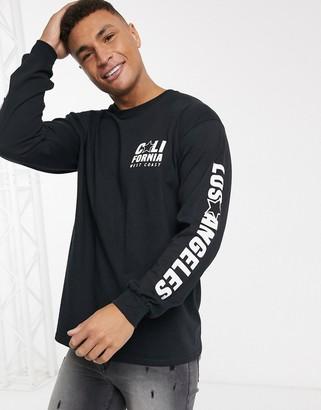 New Look Cali long sleeve print t-shirt in black