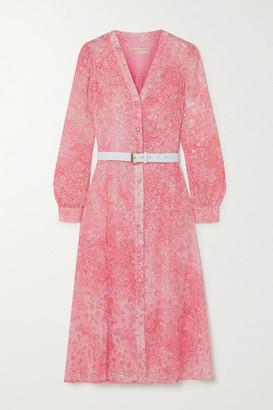 MICHAEL Michael Kors Belted Paisley-print Fil Coupe Gauze Midi Dress - Peach