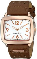 Nine West Women's NW/1080SVBN Rose Gold-Tone Brown Perforated Strap Watch