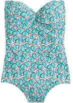 J.Crew Leaf-print bandeau one-piece swimsuit