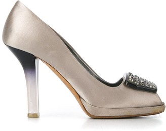 Prada Pre-Owned 1990s crystal plaque peep toe pumps