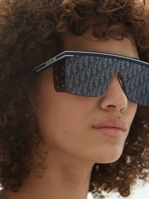 Thumbnail for your product : Christian Dior Diorclub Oblique Monogram-lens Flat-top Sunglasses - Blue