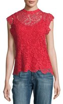 Velvet Allie Floral Lace Cap-Sleeve Top, Red