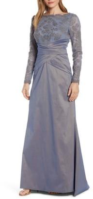 Tadashi Shoji Embroidered Mesh & Taffeta Gown