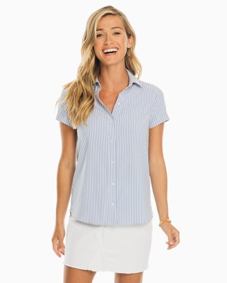 Southern Tide Courtney Striped Intercoastal Short Sleeve Button Down Shirt