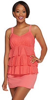 As Is Denim & Co. Beach Eyelet Tiered Tankini with Swimsuit