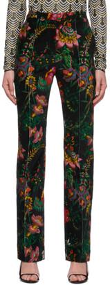 Paco Rabanne Black Velvet Printed Trousers