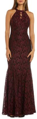 Night Way Nightway Glitter Lace Halter Gown w/ Scalloped Bodice Detail
