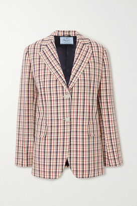 Prada Checked Wool Blazer - Red