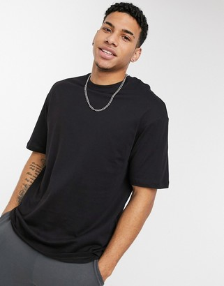 Jack and Jones Core boxy t-shirt in black