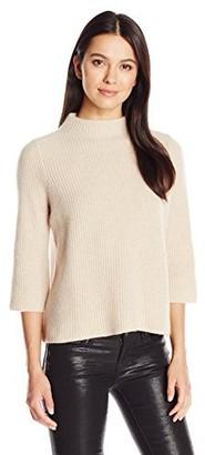 Design History Women's Chiffon Back Mock Neck Sweater