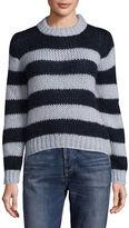 Ganni Crew Neck Stripe Mohair-Wool Knit Sweater