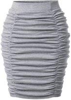 TheLees (NKSSK65) Womens Fitted Elastic High Waist Elegant Shirring Midi Skirt BLACK US XS(Tag size S)