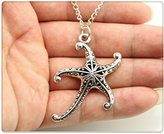 Nobrand No brand fashion simple antique silver tone 3d hollow starfish pendant necklace , 70cm chain long necklace