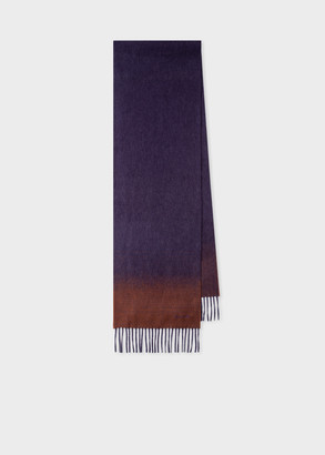 Paul Smith Men's Purple Cashmere Scarf With Contrast Ends