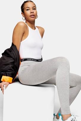 Topshop Womens Grey Elastic Leggings - Grey Marl