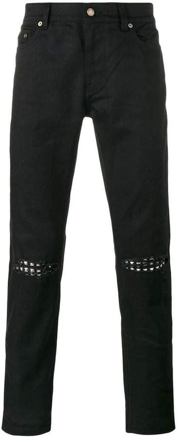 Saint Laurent ripped stud slim fit jeans