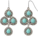 JCPenney MONET JEWELRY Monet Aqua and Marcasite Chandelier Earrings